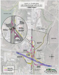 Aerial of I-85/321 interchange with marketings