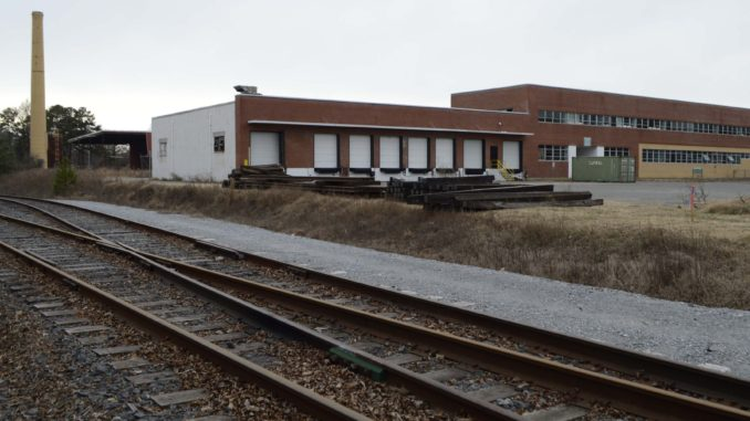 Railroad tracks and building