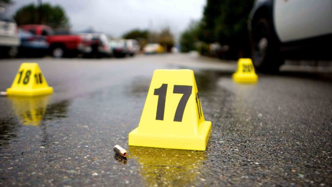 Evidence markers at crime scene