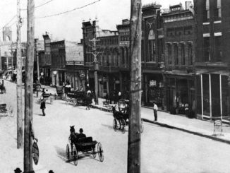 Horse-drawn carriages in downtown Gastonia in 1900.