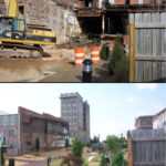 Top: demolition of old building. Bottom: newly finished park.