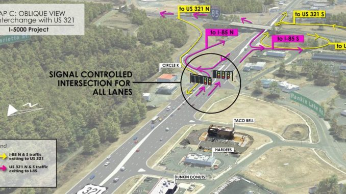Aerial photo of I-84/321 interchange with proposed changes marked