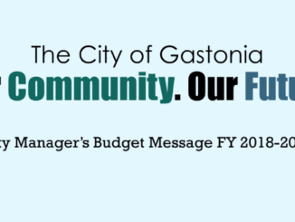 Graphic design from budget report: The City of Gastonia. Our Community. Our Future. City Manager's Budget Message FY s018-2019.