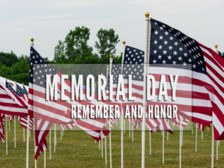 American flags with words Memorial Day, Remember and Honor
