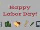 Words Happy Labor Day, pictures of hard hat, computer