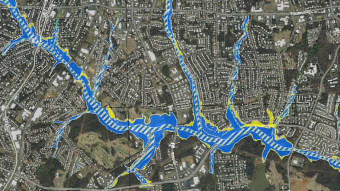 Section of floodplain map in Gastonia