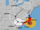Map of eastern U.S. showing Hurricane Florence's likely path