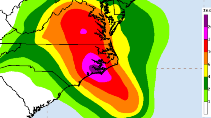 Map using color to show estimated rainfall totals