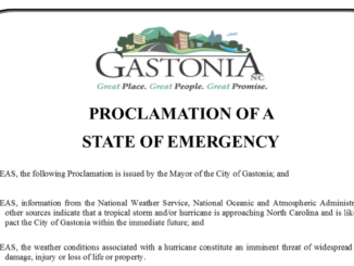Words at the top of the state of emergency proclamation