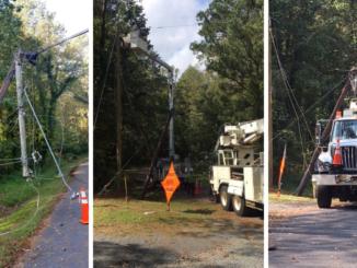 Three photos of Gastonia linemen repairing downed power lines