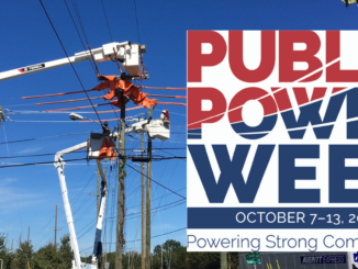 "Line crews repairing electric lines in bucket trucks, with ""Public Power Week"" logo over half of the photo"