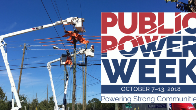 """Line crews repairing electric lines in bucket trucks, with """"Public Power Week"""" logo over half of the photo"""