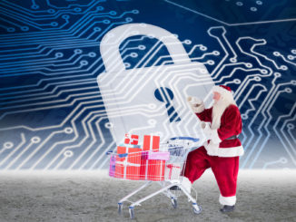 Santa and shopping cart art