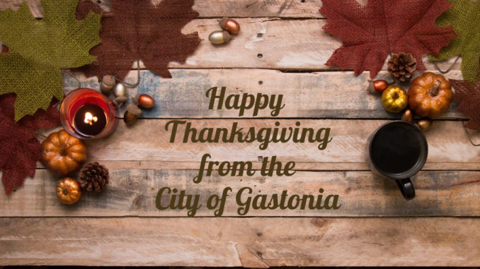 Happy Thanksgiving from the City of Gastonia with autumn leaves