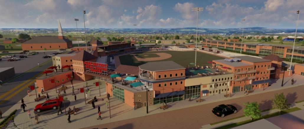 Architect's rendering of FUSE with baseball stadium