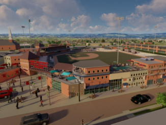 Architect's rendering of FUSE with baseball stadium