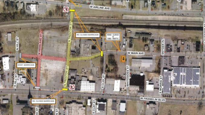 Map showing streets west of downtown Gastonia with road closings marked