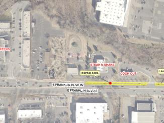 Map of repair area on Franklin Boulevard