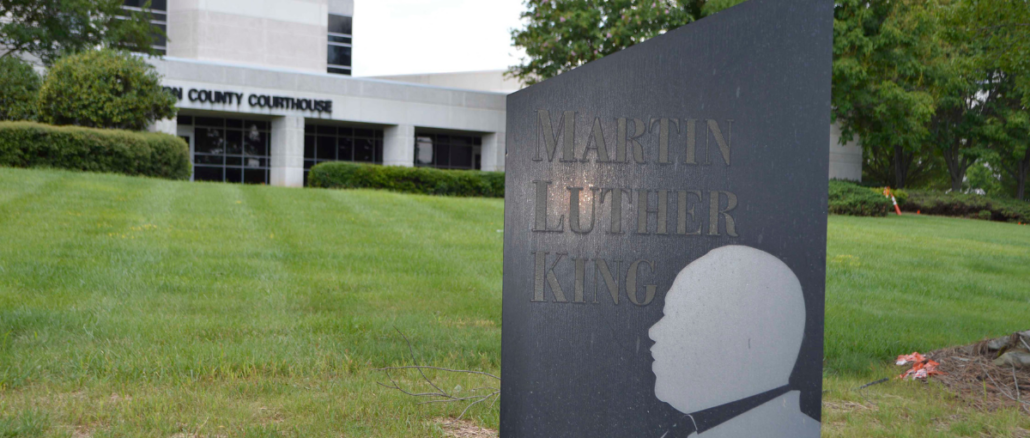 Martin Luther King marker on courthouse lawn