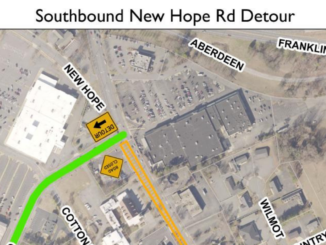Map showing location of detour on southbound New Hope Road