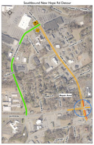 Map of South New Hope Road detour