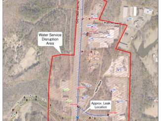 Map showing area along Highway 321 affected by water line repairs