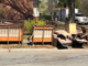 Furniture and trash lined up at street curb