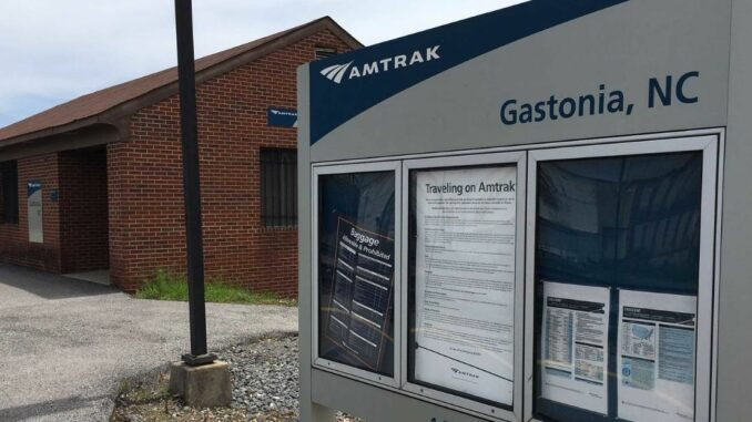 Amtrak train station and sign in Gastonia
