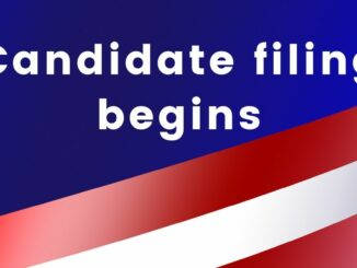 Red, white and blue background with words Candidate filing begins