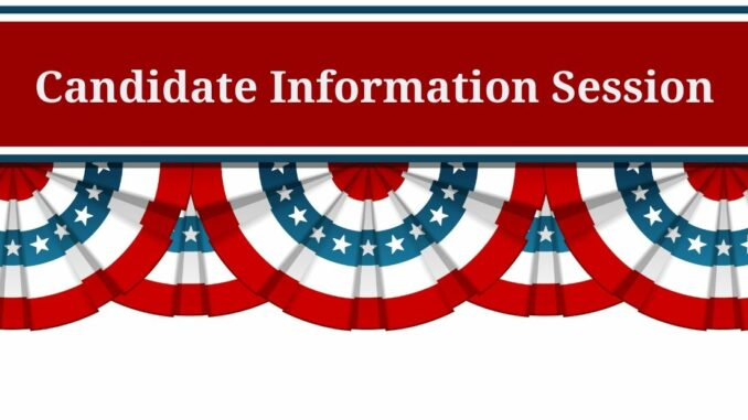 Red, white and blue bunting with words Candidate Information Session