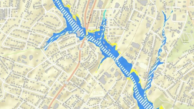 Map showing a section of floodplain in Gastonia