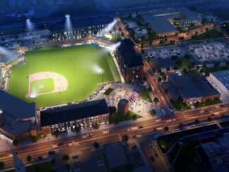 Rendering of baseball stadium at night
