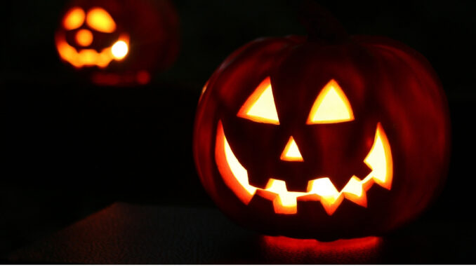 Pumpkins carved as jack-o-lanterns.