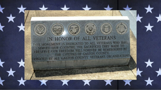 Gaston County veterans monument