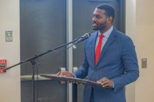 NC DEQ Secretary Michael Regan speaking at ceremony
