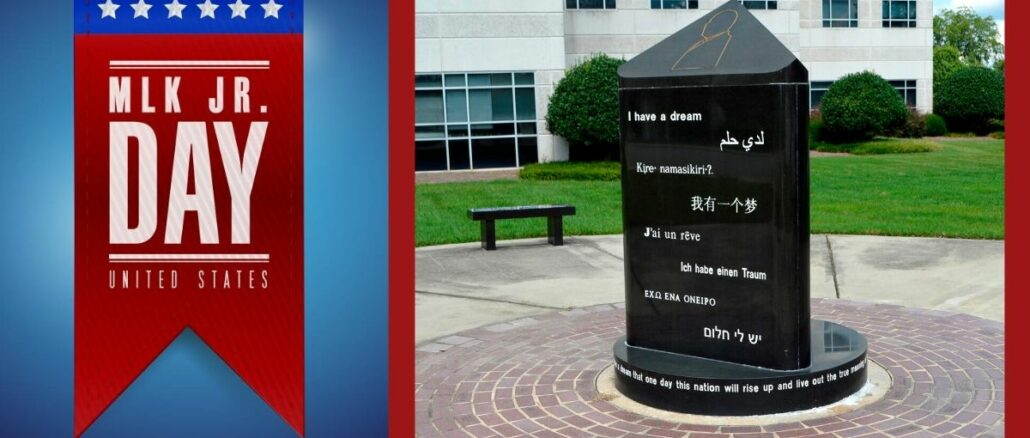 Martin Luther King memorial marker in Gastonia