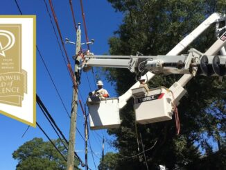 Linemen repairing electric lines, Public Power award logo