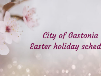 Spring blossoms with text City of Gastonia Easter holiday schedule