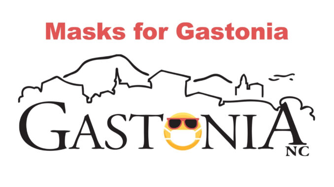 "Gastonia logo with masked face in place of the letter ""o"""