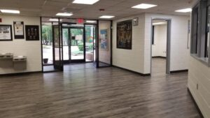 Lobby and entrance doors with new flooring