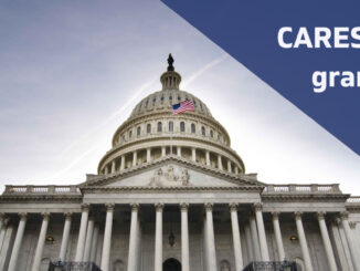 U.S. Capitol building with words CARES Act grant