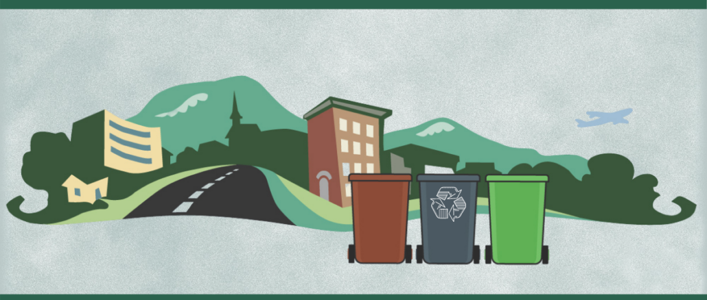 City logo with three roll-out carts, one marked for recyclables