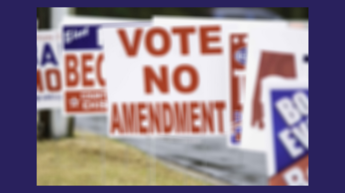 Political yard signs along a street
