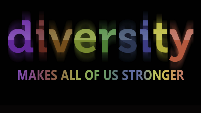 The word Diversity with each letter in a different color