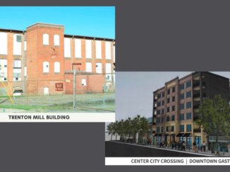 Trenton Mill photo and rendering of Center City Crossing