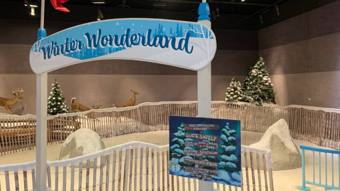 Winter Wonderland sign above skating rink entrance