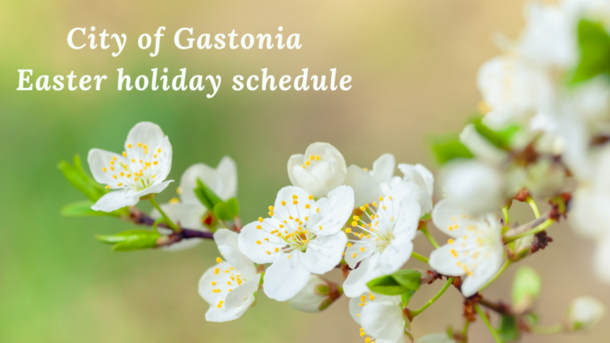 Spring blossoms with words Easter holiday schedule