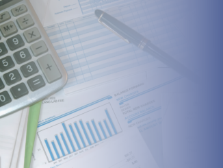 Calculator, bills and pen