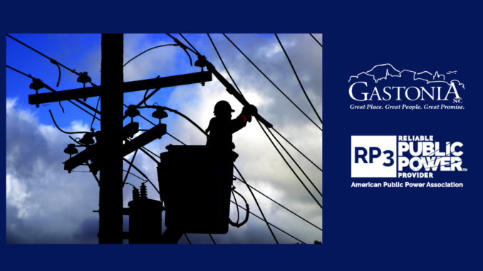 Silhouette of lineworker with RP3 logo