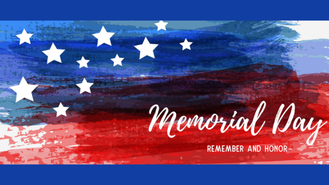 """Image of U.S. flag with words """"Memorial Day"""""""
